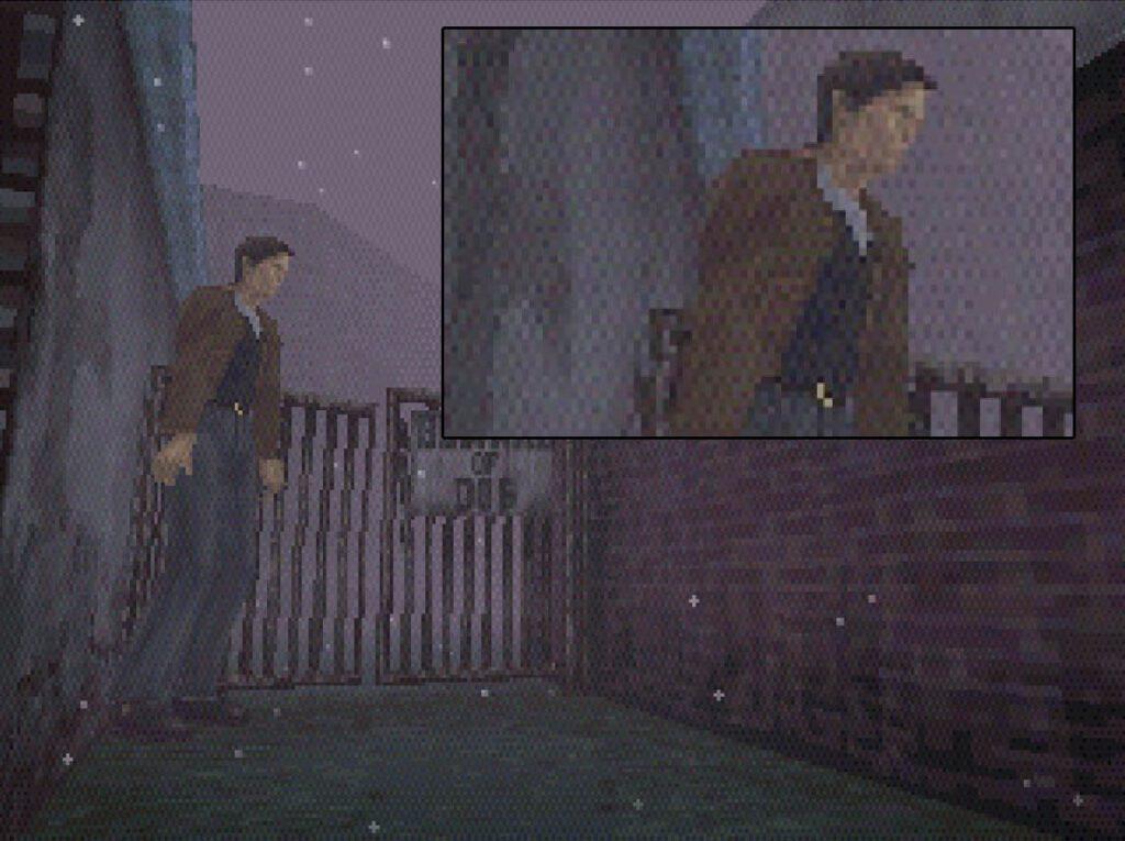 Silent Hill de PSX en un monitor CRT mostrando dithering