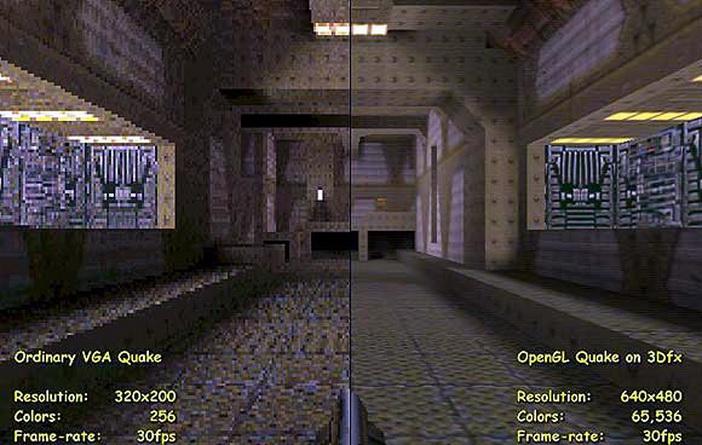 Comparativa de gráficos de Quake 2.